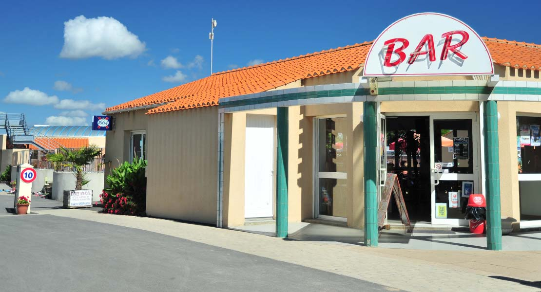 The entrance to the beach campsite bar in Saint-Hilaire in Vendée