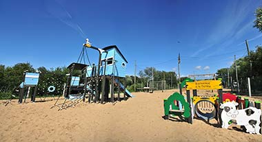 View of the playground and its structures for children, La Prairie campsite in Vendée