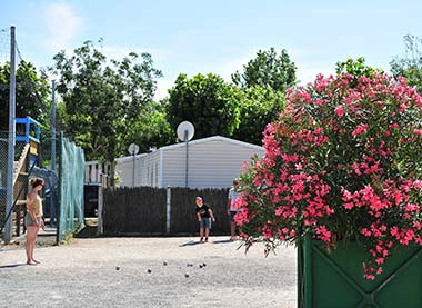 The pétanque ground of the campsite in Vendée near the beaches